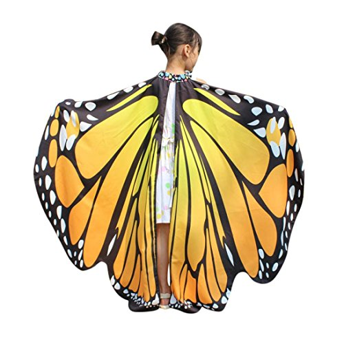 Quartly Kids Girls Butterfly Wings Shawl Scarves Ladies Nymph Pixie Poncho Costume (Chilren H)