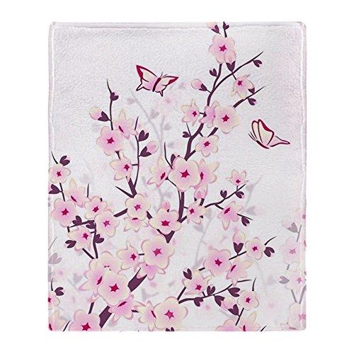 CafePress Cherry Blossoms and Butterflies Soft Fleece Throw