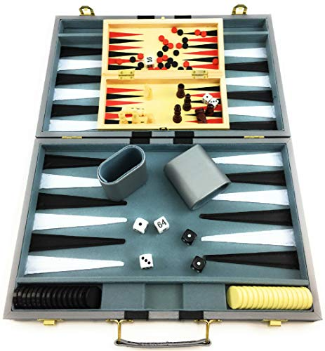 """Matty's Toy Stop Deluxe 15"""" Backgammon Briefcase (Vinyl Gray Attache) with 3-in-1 Chess, Checkers & Backgammon Wooden Travel Games Set (8"""")"""