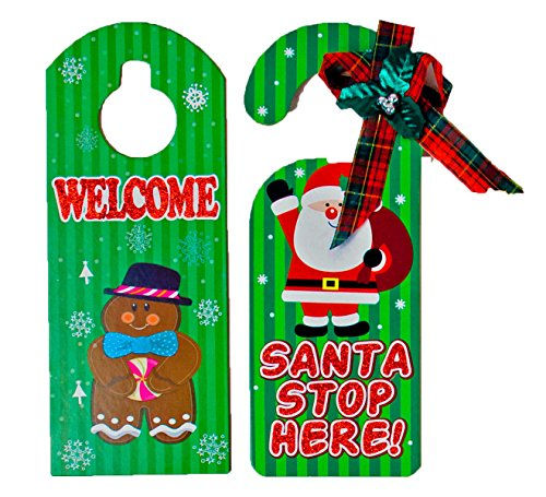 Black Duck Brand Set of 2 Green Holiday Door Hangers -Santa, Snowman, Penguin, Gingerbread Man Designs (Green)