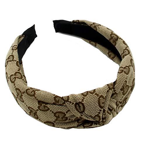 Designer GG Letter Embroidery Headbands - Cross Knot Wide Hairbands for Women - GG LOGO Hard Hair Hoops for Girls - 1Pcs of Pack (GG Letter ()