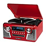 it.innovative technology Victrola 50's Retro 3-Speed Bluetooth Turntable with Stereo, CD Player and Speakers, Red (Certified Refurbished)
