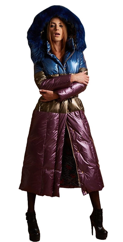 queenshiny Damen Lange Daunenjacke Mantel Jacke mit Waschbär Pelz Kragen mit Kapuze unterhalb der Knie Luxus Winter