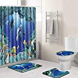 Weiliru Set of 4 Shower Curtain and Bath Mat Set,Waterproof Non-Slip Bathroom Curtain and Rug Set