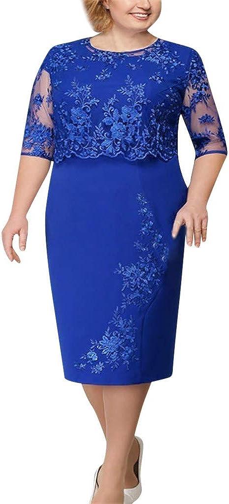 MORCHAN Femmes Mode Dentelle M/ère /él/égante Robe de mari/ée de Longueur Genou Plus Size Dress