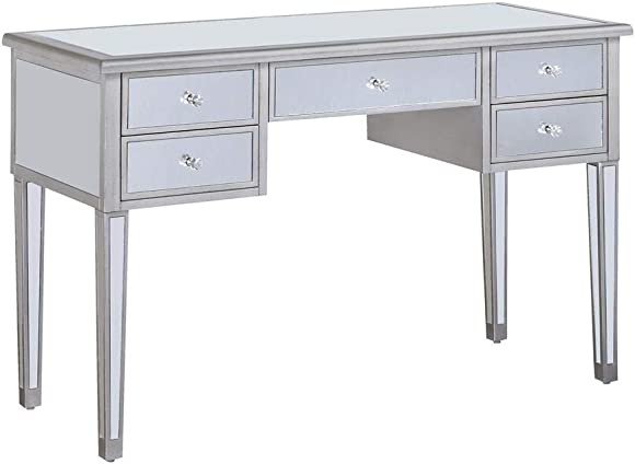 Writing Desk with Mirrored Accents Antique Silver