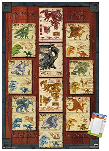 "Trends International Dungeons Dragon Grid Mount Wall Poster, 22.375"" x 34"", Poster & Mount Bundle"