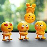 ToyBoy Smiley Spring Doll, Cute Emoji Bobble Head Dolls Car Ornaments Bounce Toys Expression, Emoticon Figure Funny Smiley Face Springs Decoration for Car Interior Dashboard (Pack of 4)