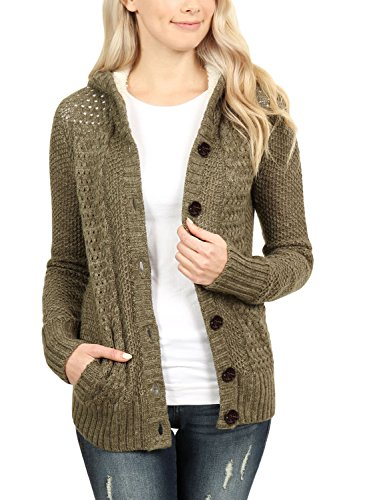 ROSKIKI Womens Winter Plus Size Fleece Lined Hooded Cardigan Sweaters with Pockets Fashion 2018 Button Down Long Sleeve Soft Cozy Coat Outwear Olive (Fleece Lined Hooded Cardigan)