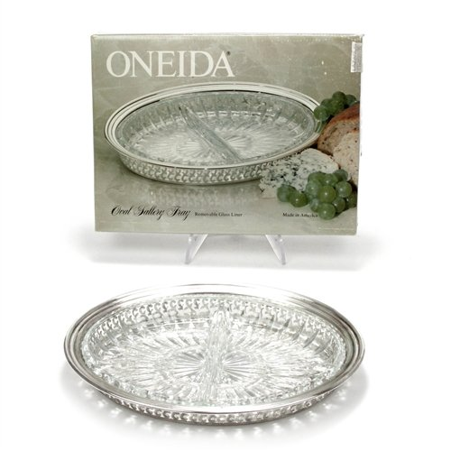 Relish Dish by Oneida, Silverplate/Glass, Gallery Tray
