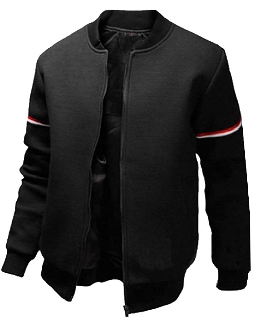 Cromoncent Mens Casual Stand Collar Zipper Sport Coat Jacket Outwear Sweatshirt