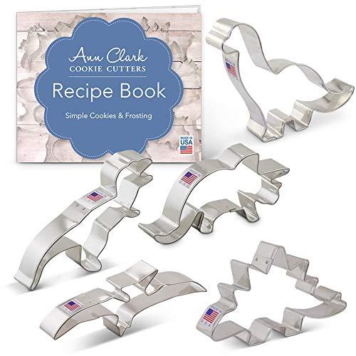 Dinosaur Cookie Cutter Set with Recipe Book - 5 Piece - Triceratops, Stegosaurus, T-Rex, Brontosaurus and Pterodactyl - Ann Clark - USA Made Steel