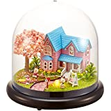 Flever Dollhouse Miniature DIY House Kit Creative Room with Furniture and Glass Cover for Romantic Artwork Gift(Promise of Cherry Blossom)