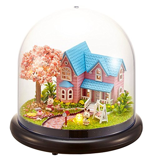 Flever Dollhouse Miniature DIY House Kit Creative Room With Furniture and Glass Cover for Romantic Artwork Gift(Promise of Cherry Blossom) (Room Box Kit)