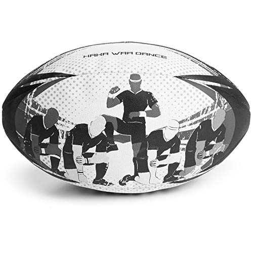 - Crown Sporting Goods Haka War Dance Rugby Match Ball | Official Size 5 Ball with Textured Grip | New Zealand Men in Black Maori Challenge Design | Great for Match, Practice, Scrimmage Play