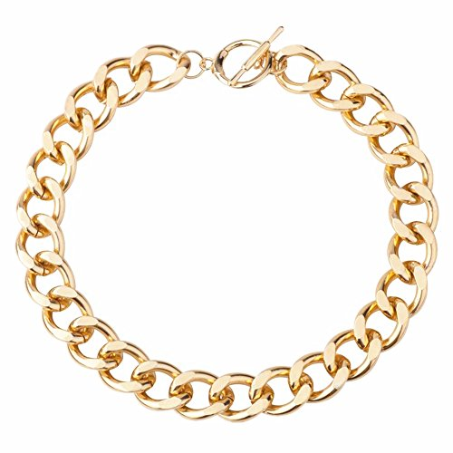 Gold Tone Aluminum Chain Necklace Chunky Choker Jewelry (Chunky Chain)