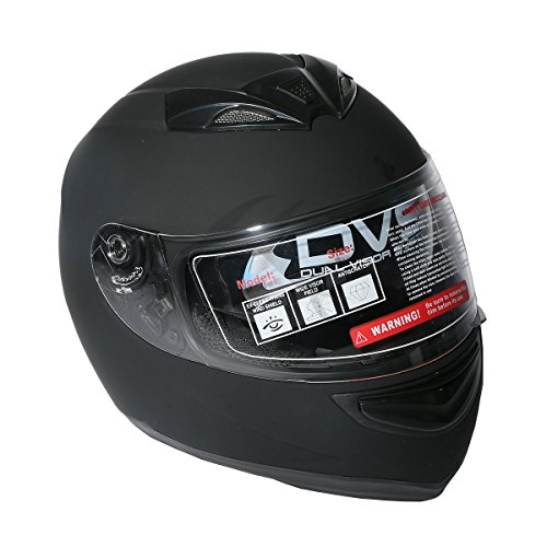 Tengchang-DOT-Dual-Visor-Matte-Black-Street-Sport-Bike-Full-Face-Motorcycle-HelmetL
