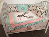 Woodland 1 to 4 Piece baby girl nursery crib bedding Large Stag Head Ruffled Quilt, bumper, and bed skirt, Buck, deer, fawn, head silhouette, Mint, Coral, Gray, Pink