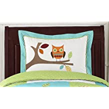Sweet Jojo Designs Turquoise and Lime Hooty Owl Pillow Sham