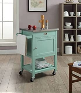 Sydney Kitchen Island Cart U2014 Light Green With Stainless Steel Top