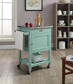 Medium image of sydney kitchen island cart  u2014 light green with stainless steel top