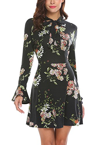 Long Sleeve Dress (ACEVOG Women's Casual Floral Print Bell Sleeve Fit and Flare Dress (Medium, Black))