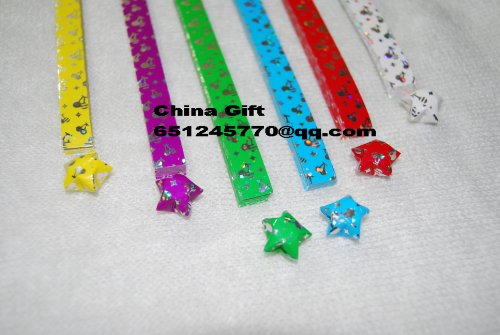 Cherry Laser Paper - 6 Packs Laser-cherry Stars Origami Paper (Around 222pcs)