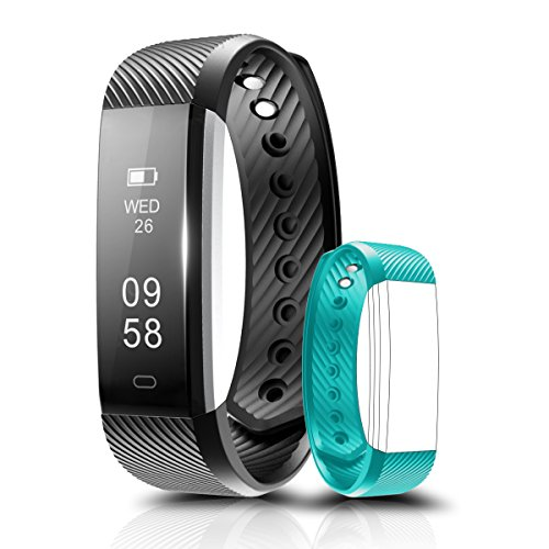 Fitness Tracker, Coffea C2 Activity Wristband : Bluetooth Wireless Smart Bracelet, Waterproof Pedometer Activity Tracker Watch with Replacement Band for IOS & Android Smartphone (Black+Teal strap)