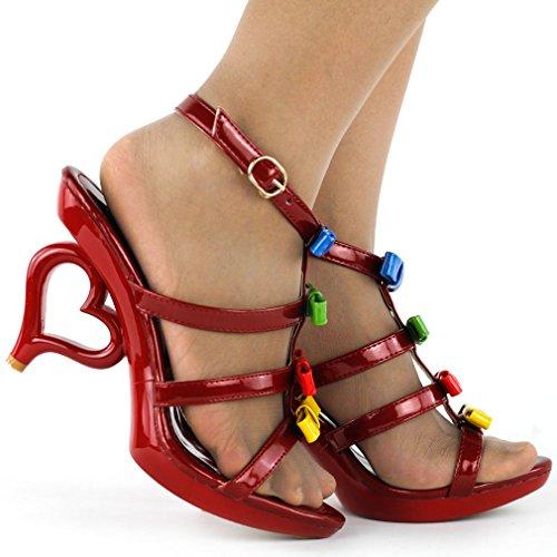 fiocchi colori alla Story sposa Mostra sposa con 20 removibile da scarpe caviglia Rosso dei sandali SM33101 cinturino fiori qpnTEn