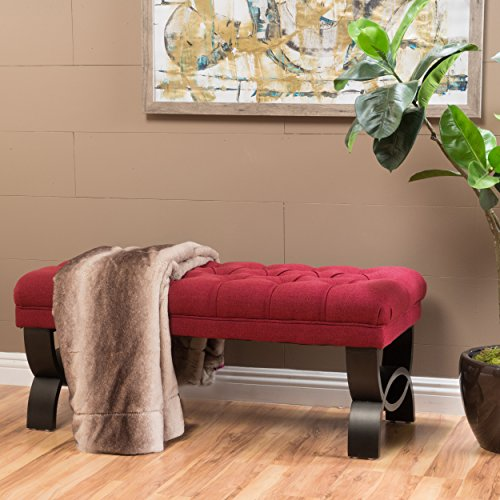 Christopher Knight Home 299601 Living Colette Deep Red Tufted Fabric Ottoman Bench, ()