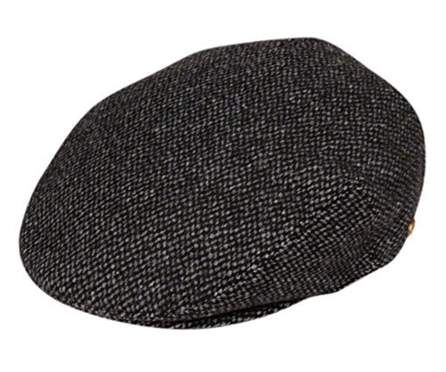 Men's Premium Wool Blend Tweed Flat IVY newsboy Collection Hat,Black/Gray (Herringbone Flat Cap)
