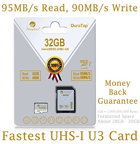 32GB Micro SDHC SD U3 Card Plus Adapter Pack. Amplim Pro Class 10 UHS-I Extreme MicroSDHC 95MB/s Read, 90MB/s Write Ultra High Speed HD UHD 4K Video. Internal/External MicroSD Storage Flash TF Memory (Profile Elite Back Hub compare prices)