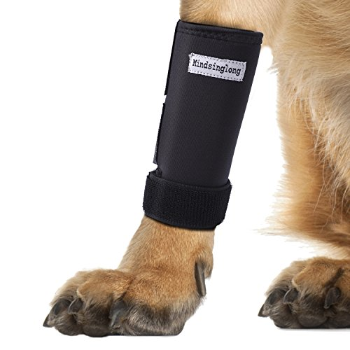 Mindsinglong Dog Front Leg Wrap, Dog Canine Hock Joint Brace Adjustable Front Leg Protection Wrap for Small, Medium and Large Size Dogs (1 Pair for Both Front Legs)