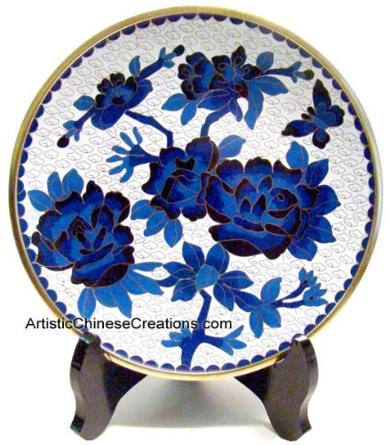 Chinese Art Chinese Collectibles / Chinese Home Decor / Chinese Gifts: Chinese Cloisonne Plate - Peony & Butterfly