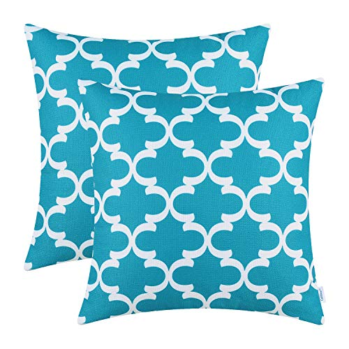 - CaliTime Pack of 2 Soft Canvas Throw Pillow Covers Cases for Couch Sofa Home Decor Modern Quatrefoil Accent Geometric 16 X 16 Inches Lake Blue