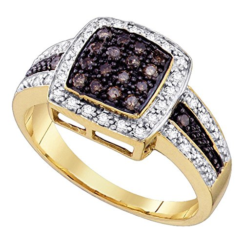 Size 7 - 14K Yellow and White Two Tone Gold White and Chocolate Brown Diamond Halo Engagement OR Fashion Right Hand Ring Band - Square Princess Shape Center Setting w/ Channel Set Round Diamonds - (1/2 cttw) ()