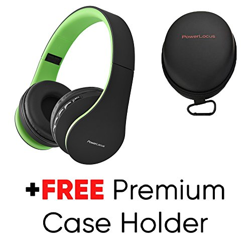 PowerLocus Wireless Bluetooth Over-Ear Stereo Foldable Headphones, Wired Headsets Rechargeable with Built-in Microphone for iPhone, Samsung, LG, iPad (Black/Green)