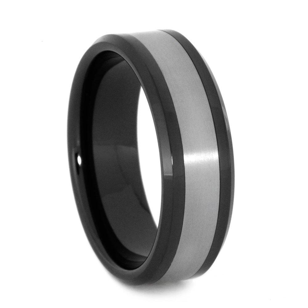 Matte Titanium 8mm Comfort-Fit Black Ceramic Wedding Band, Size 11.75