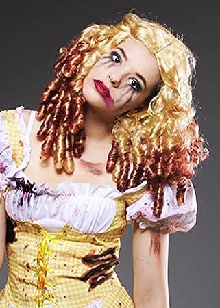 Mujeres Gothic Zombie Ricitos de oro rubia peluca: Amazon.es ...