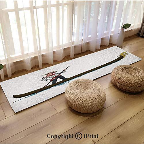 3D Printed Flannel mat,Illustration of Gondola in Romance City Venice European Symbol of Love Italian Decor Brown White,18