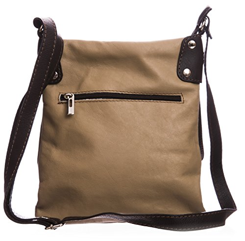 Messenger Italian Soft Big Body Taupish Bag Leather Handbag Real Grey Shoulder Cross Womens 8HwpqTg