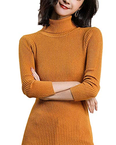 Payeel Turtleneck Sweater Women Solid Basic Long Sleeve Halloween Costume Top (Orange, 2/4)