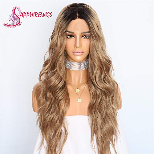 (Sapphirewigs Black Dark Roots Ombre Brown Color Women Gift Daily Makeup Wedding Party Synthetic Lace Front)