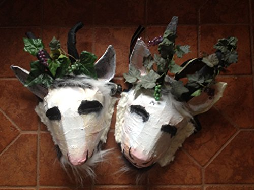 Satyr masks, horned masquerade costume headpieces. For Festival, masquerade party, photoshoots, pranks, cosplay, larp, or Beltane. Adjustable adult, god pan, wine god Bacchus, paper mache masks. by crooked crow masks