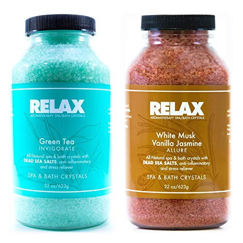 Relax Aromatherapy Dead Sea Bath Salts, Green Tea and White Musk Vanilla, Pack of 2, 22 Ounce Bottles, Crystals Infused with Vitamins and Minerals, Safe for Spa, Bath, and Whirlpool (Whirlpool Tub Green Tea)