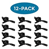 (12 Pack) ELBA Metal Gate Latch, Indoor or Outdoor, Automatic Self Locking, Black Corrosion Resistant Finish