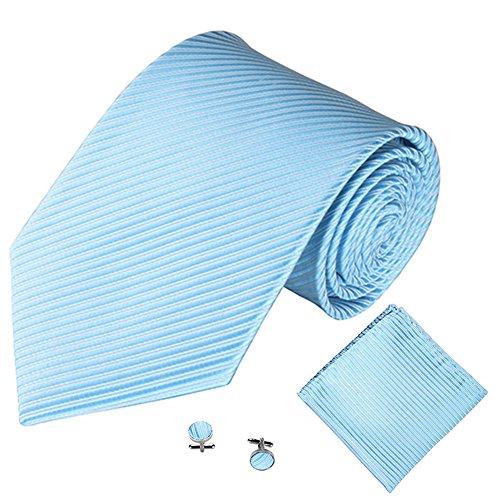 Jacquard Stripe Cuff Blue Ran Links Light Business Solid Pu Men Color Necktie Set Handkerchief gOXnzdWIx