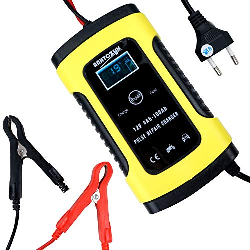 KOYOSO Car Battery Charger, 6 A 12 V Battery Maintainer with Multiple Intelligent Protection Battery Charger for Car Motorcycle:
