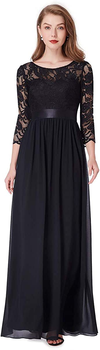 Ever-Pretty Womens Elegant 3//4 Sleeve Lace A Line Chiffon Empire Long Evening Dresses 07412