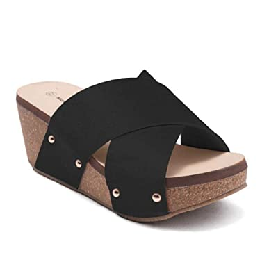 ShoBeautiful Women's Crisscross Strappy Slip-On Chunky Platform Wedge Slide Sandal DCW | Platforms & Wedges